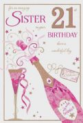 Sister 21st Birthday Card